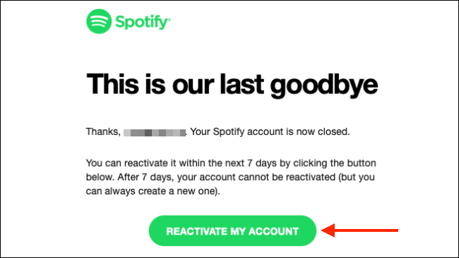 Click Reactivate My Account from Email