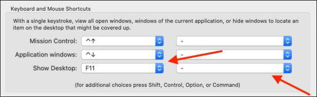 Click dropdown next to Show Desktop