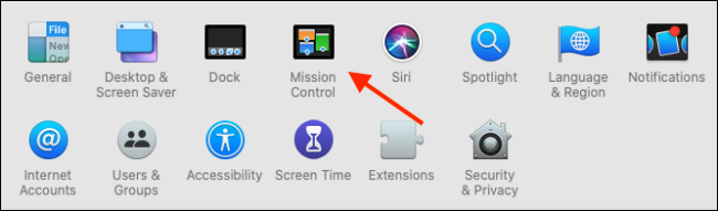 Click on Mission Control from System Preferences