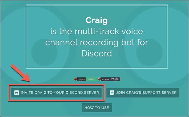 Press Invite Craig to your Discord Server to begin the join process