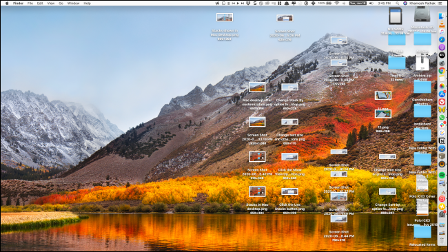 Desktop with cluttered icons