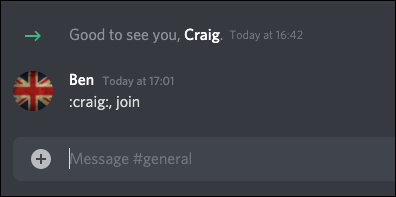 The Discord Craig bot join command