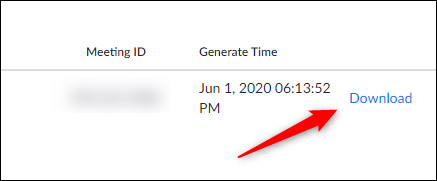 Download meeting report button for selected meeting