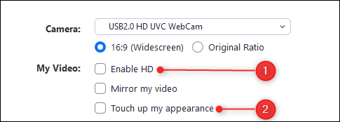 Enable HD and touch up my appearance options in Zoom