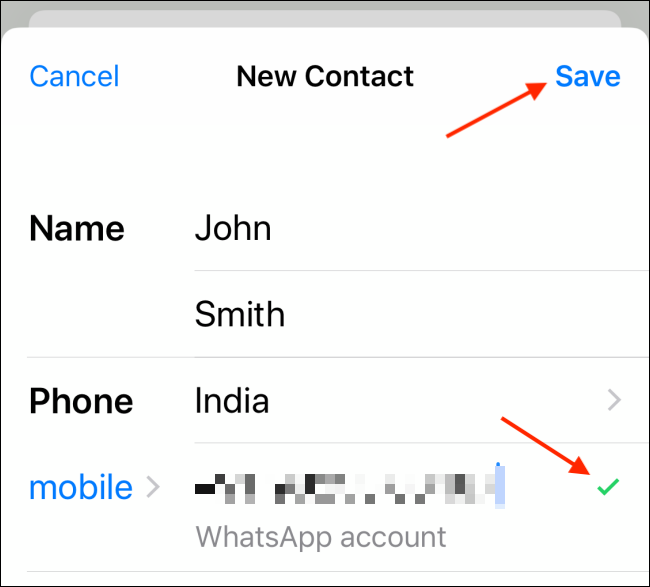 Enter contact details and tap on Save on iPhone
