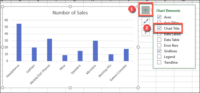 """Toque el ícono verde más (""""Elementos del gráfico"""") junto a su gráfico de Excel, luego presione la casilla de verificación """"Título del gráfico"""" para agregar o quitar el título del gráfico."""