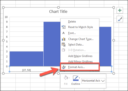 Right-click your chart axis and click Format Axis to edit your data groupings