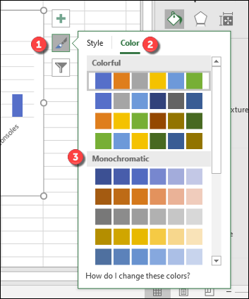 "Click the ""Color"" tab under the ""Chart Style"" options menu to change the colors used in your Excel bar chart"