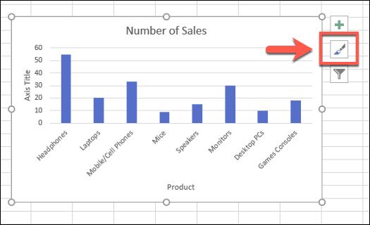 """Para cambiar los estilos de gráfico para un gráfico de barras de Excel, seleccione el gráfico y luego presione el icono """"Estilos de gráfico"""""""