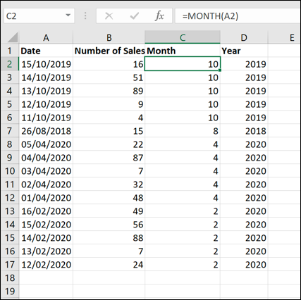 An example Excel data set, sorted by month using a MONTH formula and the sort function