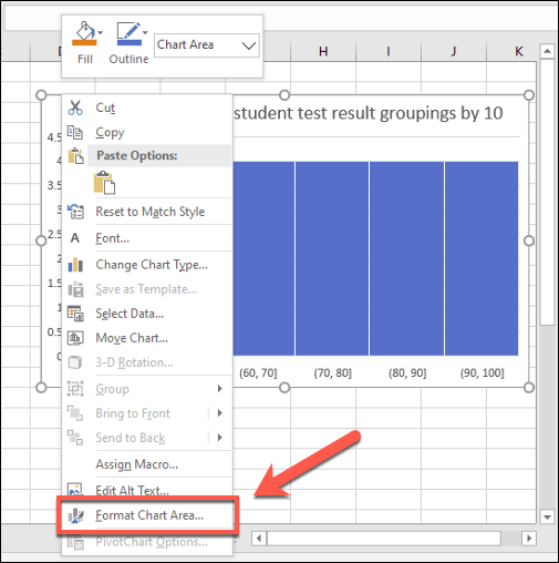 To make cosmetic changes to an Excel histogram, right-click and press the Format Chart Area button