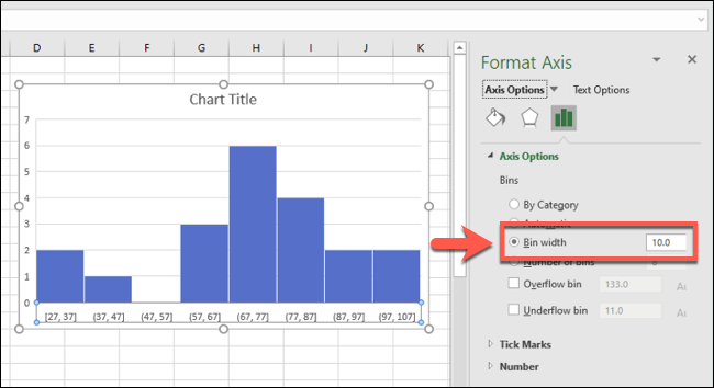 An Excel histogram with bin groupings grouped by bin width