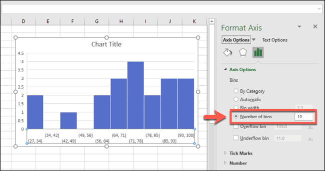 An Excel histogram, with bin groupings grouped by number of bins