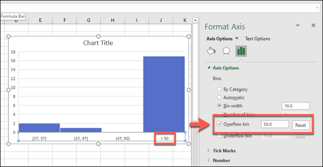 An Excel histogram with an overflow bin figure enabled