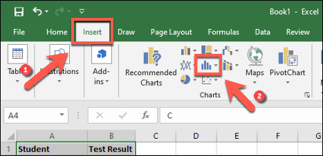 Tap Insert > Insert Statistic Chart