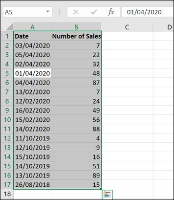 Unsorted dates in an Excel workbook.