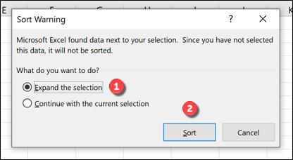 Sort Warning box Excel