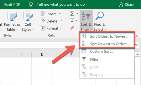 To sort Excel data in ascending or descending order, click Sort & Filter > Sort Oldest to Newest or Sort Newest to Oldest