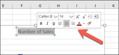 El menú de formato del cuadro de texto emergente en Excel