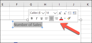 The pop-up text box formatting menu in Excel