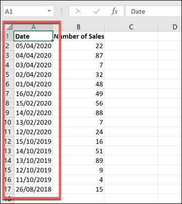 An example Excel data set, with data sorted by newest to oldest dates