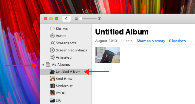 Expand My Albums section and select the album you want to delete
