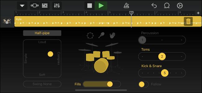 GarageBand Virtual Drummer