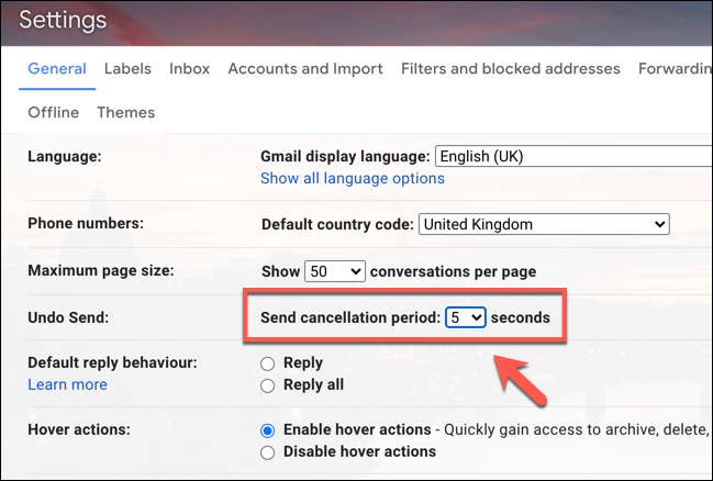 The Undo Send setting for recalling emails in the Gmail settings menu