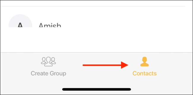 Go to the Contacts tab in the Groups app