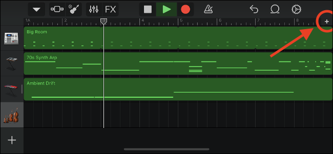 GarageBand Controls to Customize Song Sections