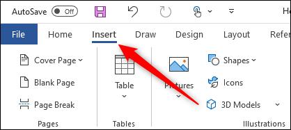 Insert tab of Microsoft Word