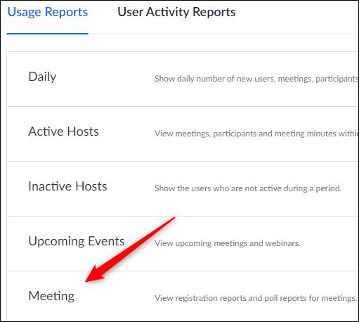 Botão de reuniões da guia Relatório de uso