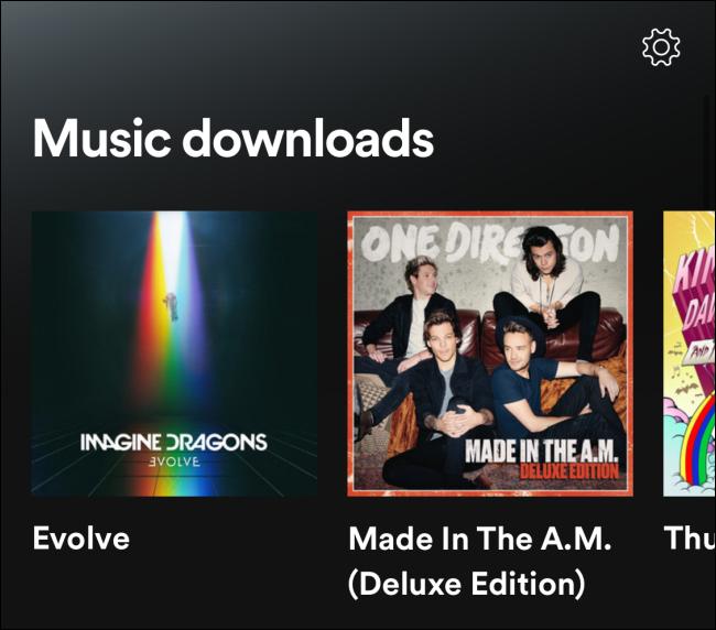 Secciones de descargas de música en modo sin conexión de Spotify