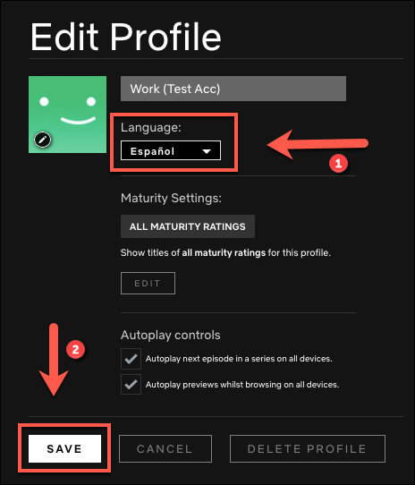 """Select the language to which you want to change your profile, and then click """"Save."""""""
