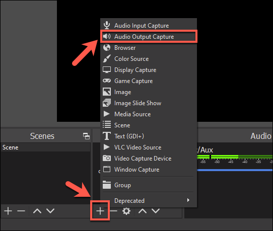 Adding an output source in OBS