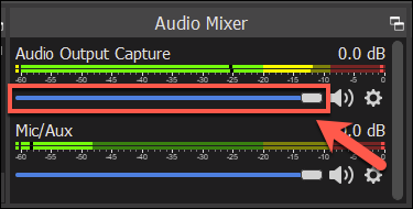 The volume bar for an OBS audio capture source