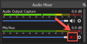 Press the mute/speaker icon to mute your microphone in OBS