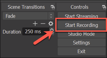 """Press """"Start Recording"""" to begin recording your OBS audio"""