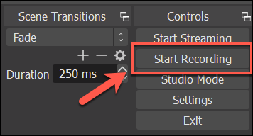 "Press ""Start Recording"" to begin recording your OBS audio"