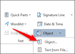 Object option from Object menu