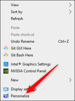 Personalize option in desktop menu