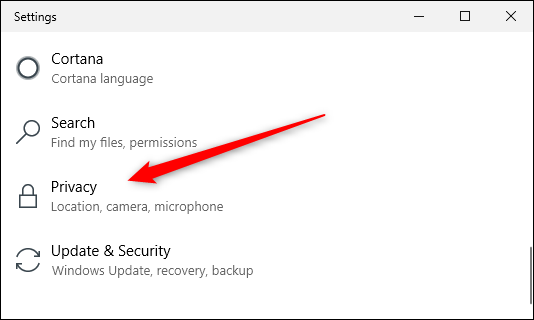 Privacy option in windows settings