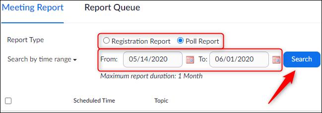 Tipo de relatório e configurações de data