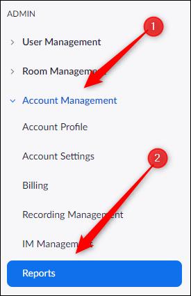Opção de relatórios na guia de gerenciamento de contas