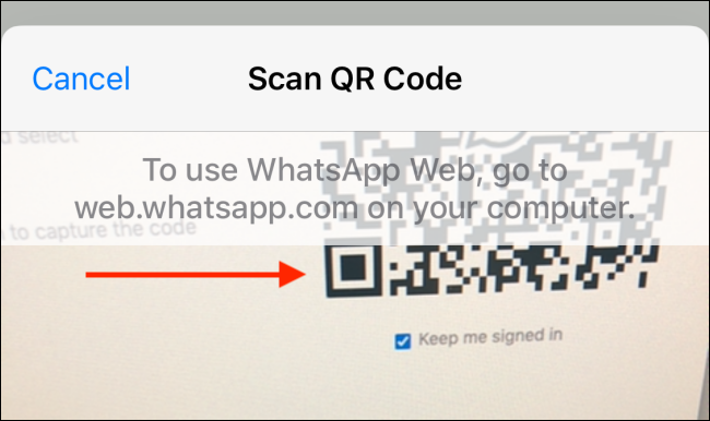 Scan QR code from iPhone