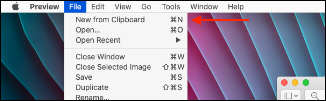 Select New From Clipboard option in Preview