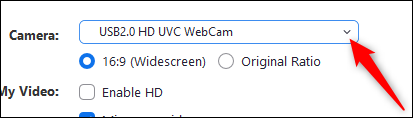 Select the camera in the settings menu