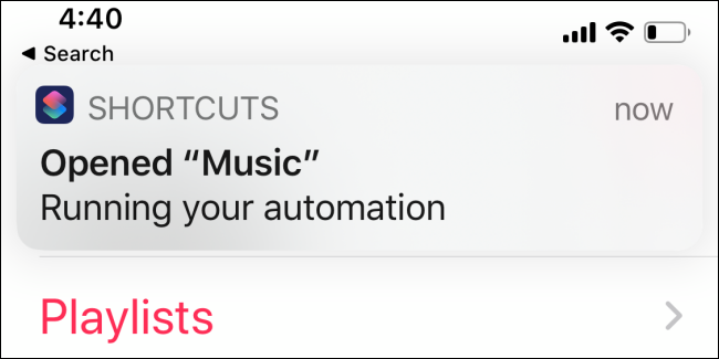 Shortcuts app showing notification of it running
