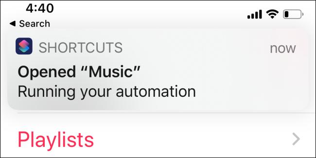 Shortcuts app showing notification of it running
