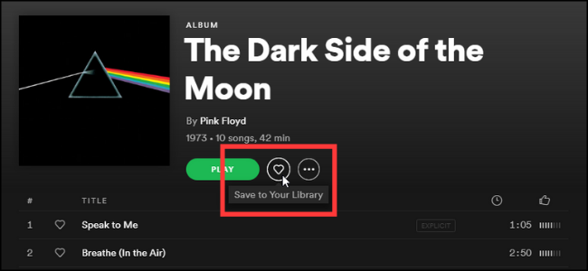 Spotify Saving Albums